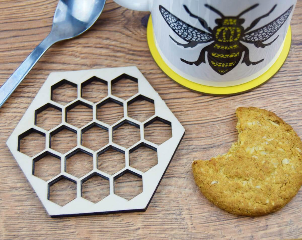 Wooden Honeycomb Coaster - The Manchester Shop
