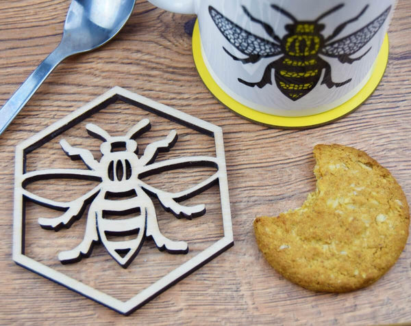 Wooden Manchester Bee Coaster - The Manchester Shop