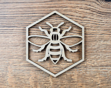 Wooden Manchester Bee Coaster