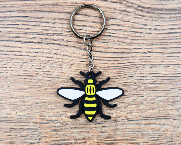 Rubber Manchester Bee Keyring - The Manchester Shop