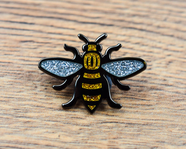 Gold Glitter Manchester Bee Pin