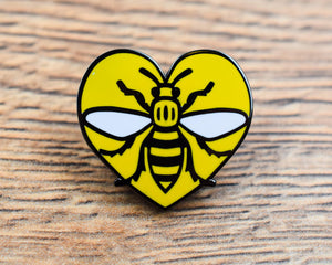 Yellow Heart Manchester Bee pin