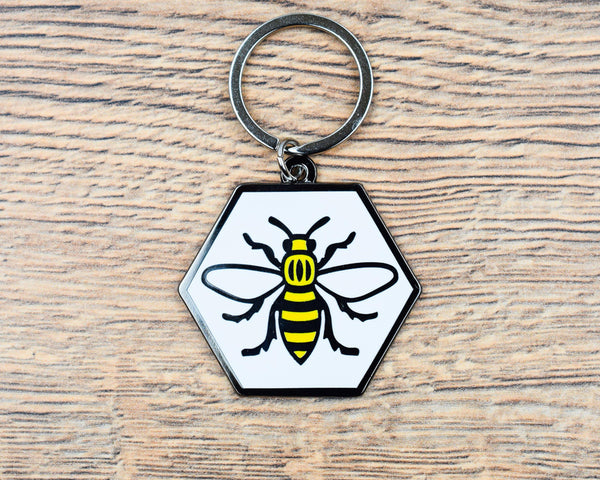Hexagon Bee Keyring - The Manchester Shop