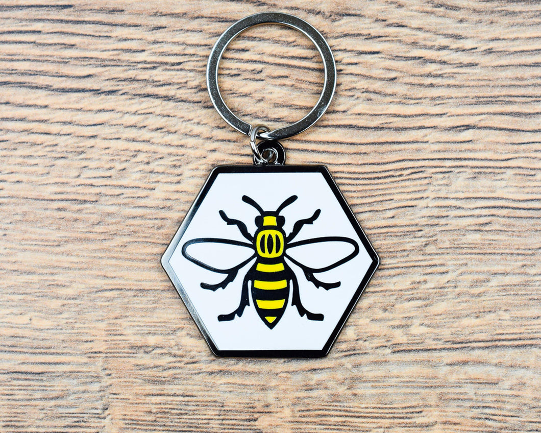 Hexagon Bee Keyring