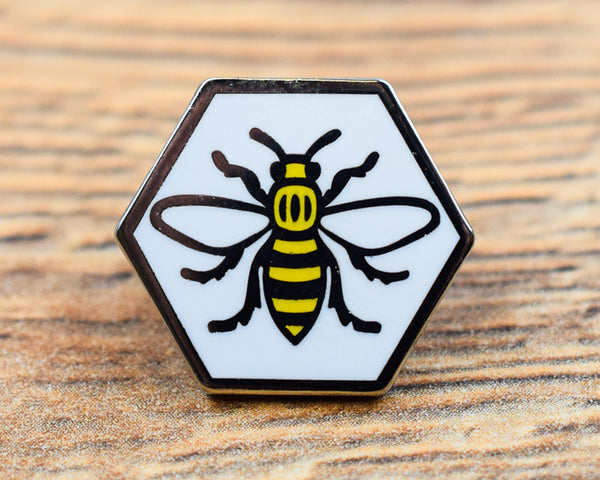 Manchester Bee Hexagon Pin - The Manchester Shop
