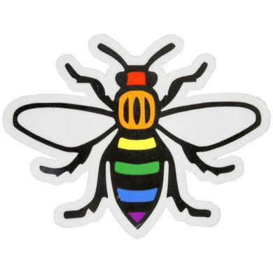 Rainbow Manchester Bee Sticker - The Manchester Shop