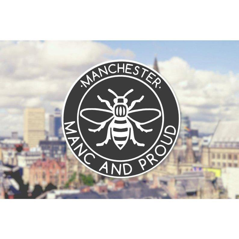Black Manc & Proud Logo Window Sticker - The Manchester Shop