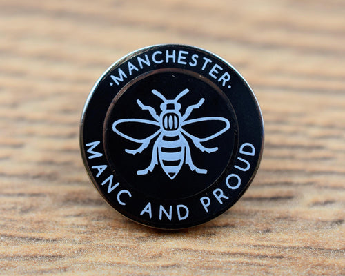 Manc & Proud Black Pin