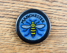 Blue Mosaic Bee Badge - The Manchester Shop