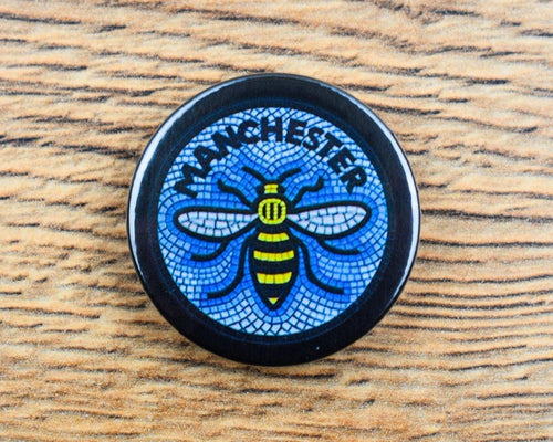 Blue Mosaic Manchester Bee Badge