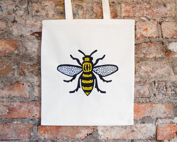 Mosaic Bee Cream Tote - The Manchester Shop