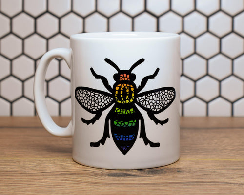 Rainbow Mosaic MCR Worker Bee Mug - The Manchester Shop