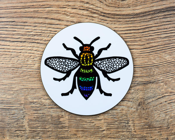 Rainbow Manchester Bee Coaster