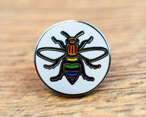 Rainbow Manchester Bee Pin