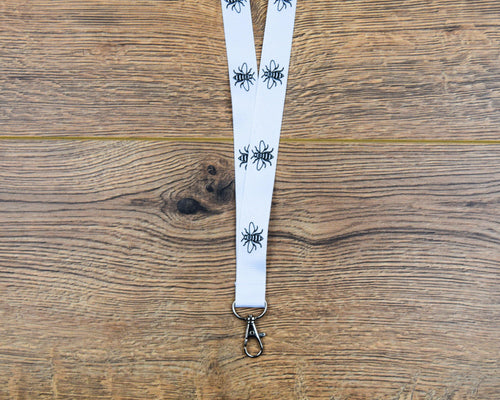 White & Black Bee Lanyard - The Manchester Shop
