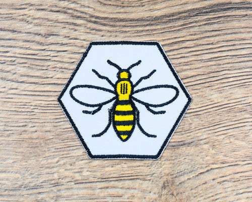 White Hexagon Manchester Bee Patch