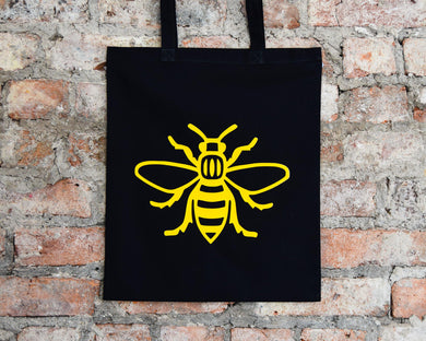 Yellow Bee Black Tote
