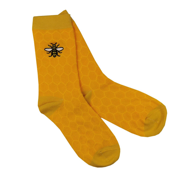 Mustard Honeycomb Bee Socks