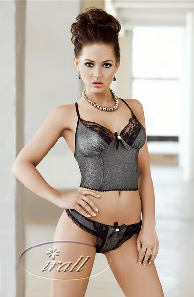 Irall Erotic Phoebe Top & Brief Set-Lingerie Set-Irall Erotic-Black-Large-Luxe Lingerie