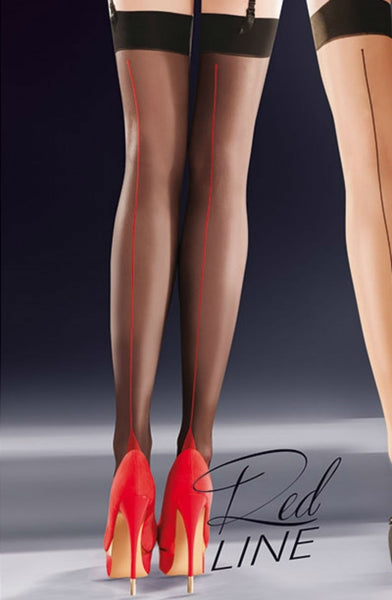 Gabriella Calze Lido 334 Stockings Red-Stockings-Gabriella-1/2 (XS/S)-Luxe Lingerie