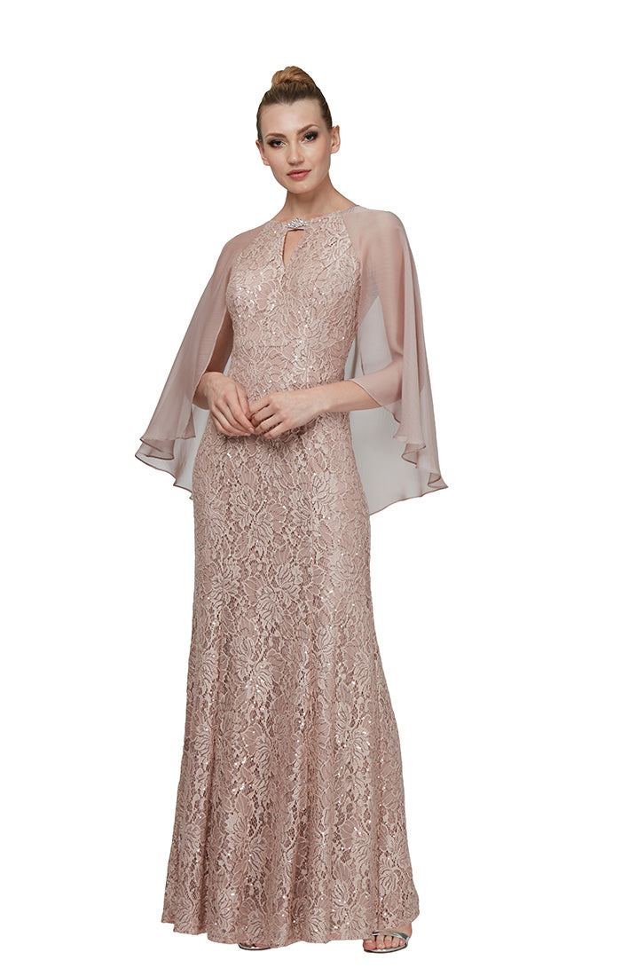 Ignite Evenings Gown with Attached Cape