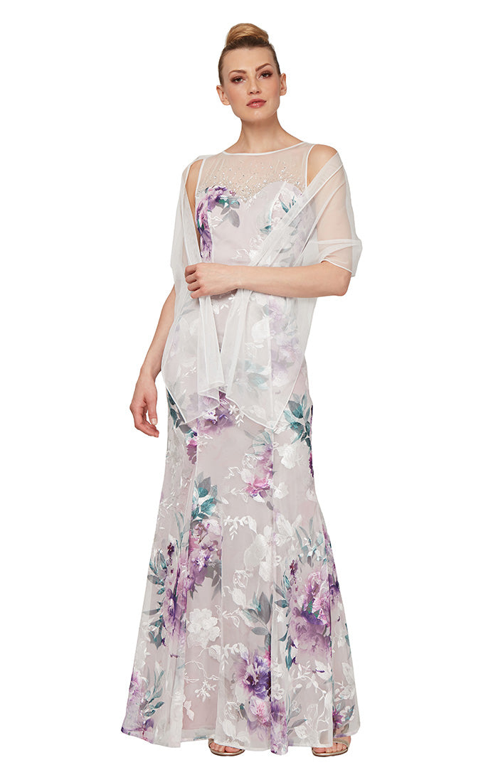 Ignite Evenings Long Embroidered Gown with Shawl