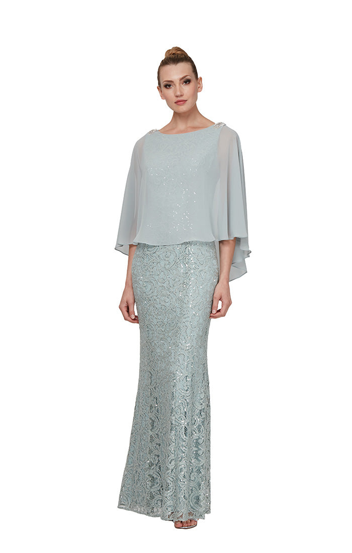 Ignite Evenings Long Sequin Lace Dress