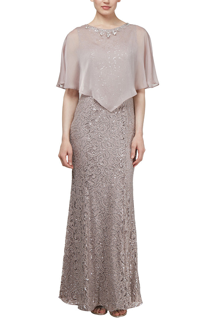 Ignite Evenings Sequin Lace Dress with Cape