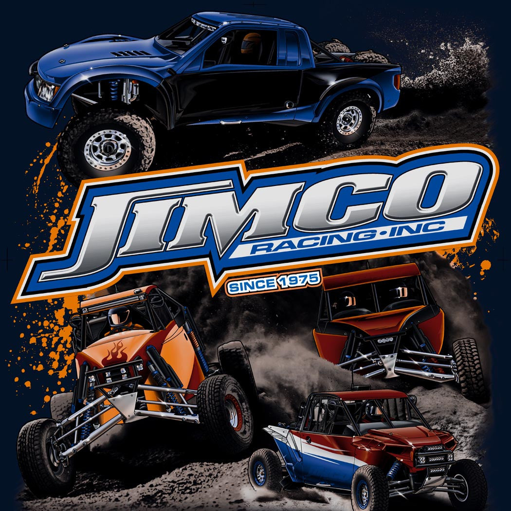 Jimco cotton navy blue T-shirt with imprint of vehicles on back