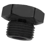 straight thread AN port plug, black