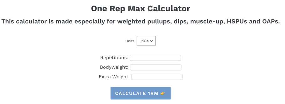 Calculate 1RM For Weighted Pull-up and Dip