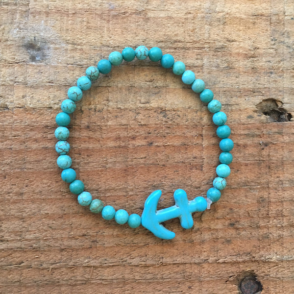 Stretch Bead Bracelet with Anchor