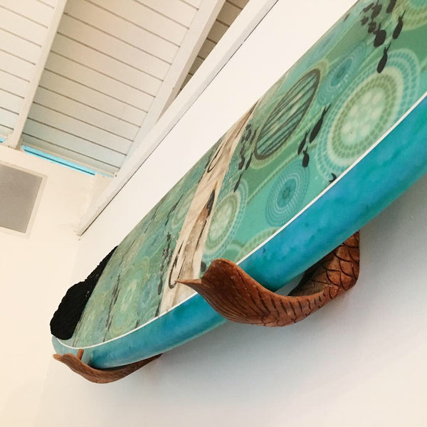 Hand Carved Fish Tail Surfboard Wall Racks