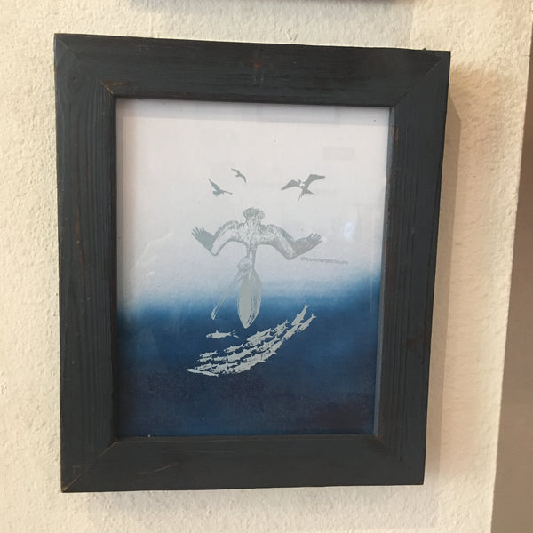 Framed Mixed Media Pelican Art