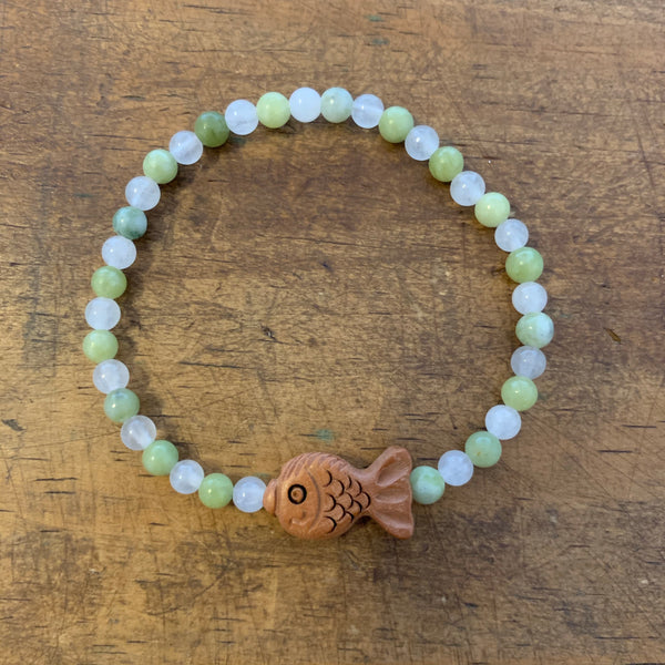 Wood Fish and Stone Bracelet