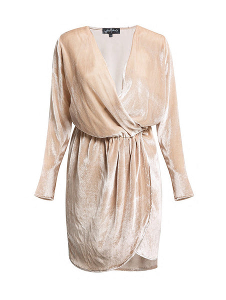 %100 SILK VELVET WRAP OVER DRESS