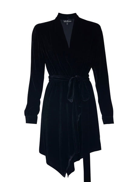 % 100 SILK VELVET WRAP OVER DRESS WITH BELT
