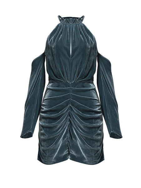 %100 SILK VELVET DRAPE DETAIL COCTAIL DRESS