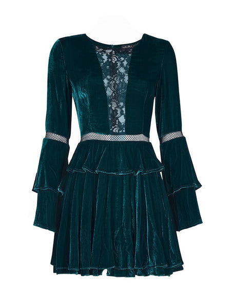 % 100 SILK VELVET FLARED SLEEVE DRESS