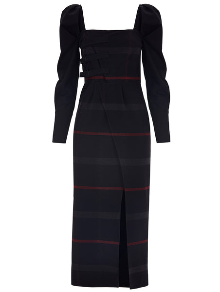 BELT DETAILED PLAID DRESS WITH SLIT