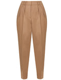 PLEATED PENCIL WOOL TROUSERS