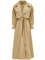 TAFFETA SHIRRED AT WAIST TRENCH COAT