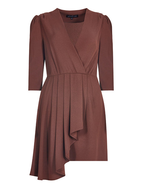 WRAP OVER PLEATED MINI DRESS