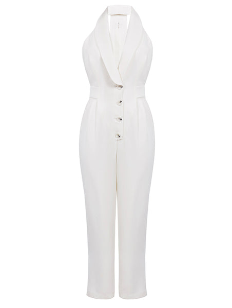 SMOKIN COLLAR AND BUTTON DETAILED JUMPSUIT