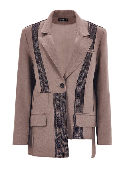 ASYMMETRIC CUT TWO COLORED JACKET