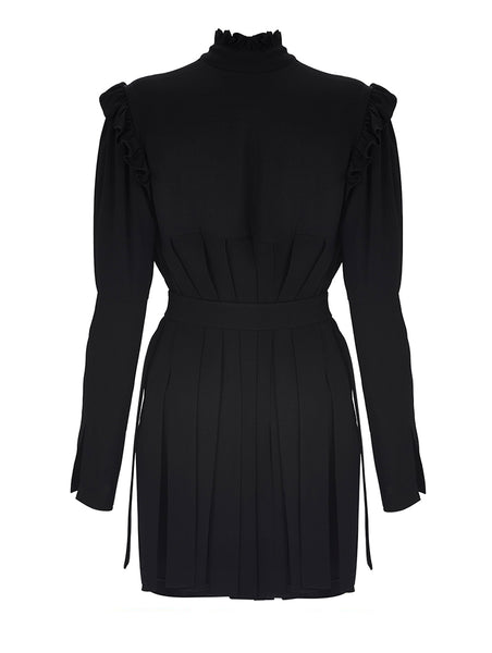 PLEAT DETAILED TURTLENECK MINI DRESS