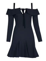 BOAT NECK DRESS WITH FRILLED HEMLINE