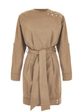 PRESS STUD DETAILED SAFARI DRESS