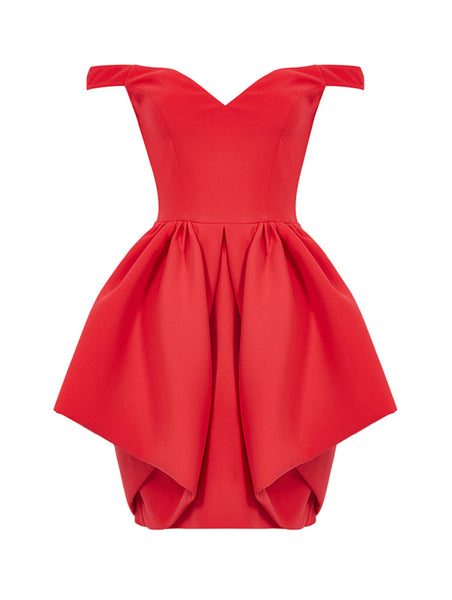 OFF SHOULDER PEPLUM DETAILED MINI DRESS