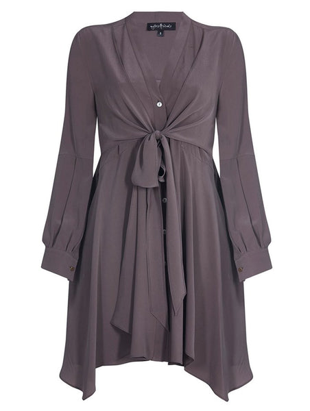 TIED AT FRONT % 100 SILK DRESS